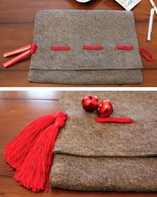 DIY holiday clutch: Jingle Bell + Tassel