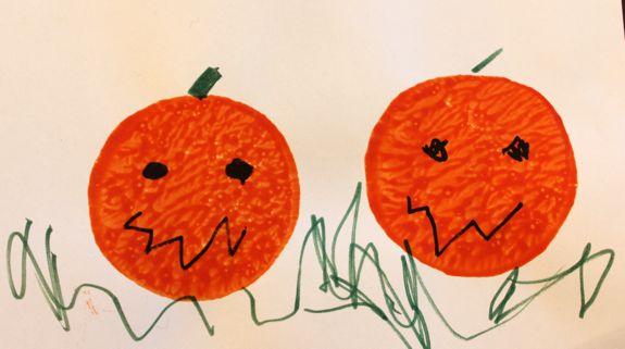 Potato Print Pumpkins Halloween Craft | HelloGlow.co