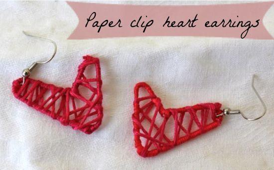 paper clip heart earrings