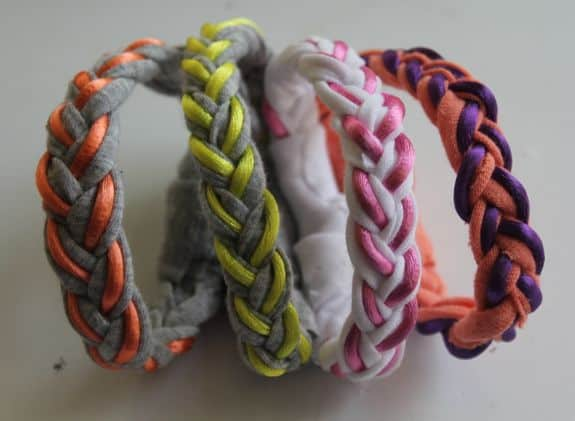 Braided T-Shirt DIY Bracelets | HelloGlow.co
