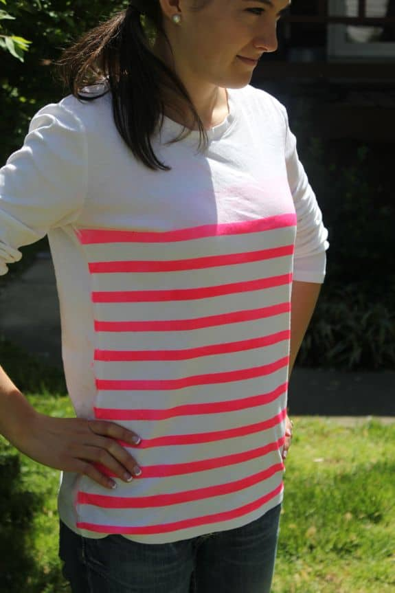 how to DIY a neon striped shirt