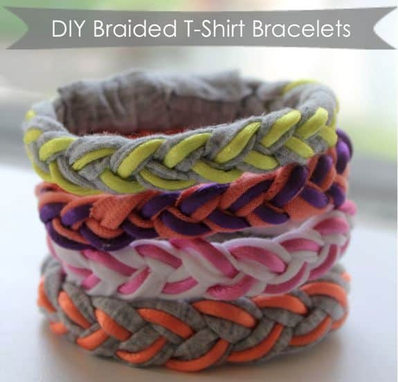 DIY Braided T-Shirt Bracelets   HelloGlow.co