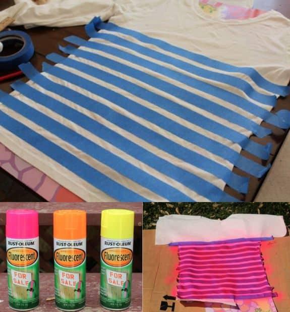 diy neon striped shirt. Black Bedroom Furniture Sets. Home Design Ideas
