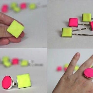DIY Clay Statement Neon Ring