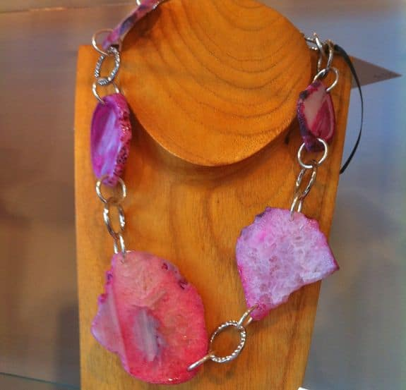 pink stone DIY necklace