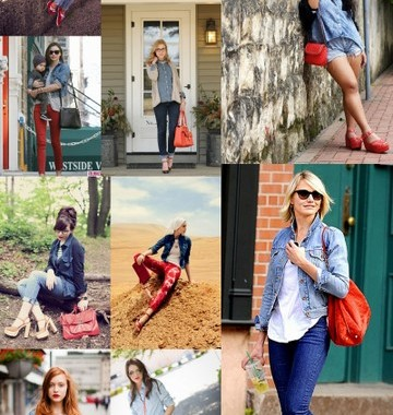 Denim & Red Style Inspiration