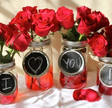 DIY Mason Jar Vases for Valentine's Day