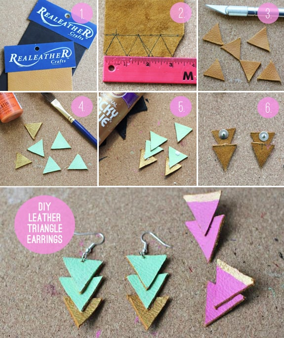 DIY Leather Triangle Earrings