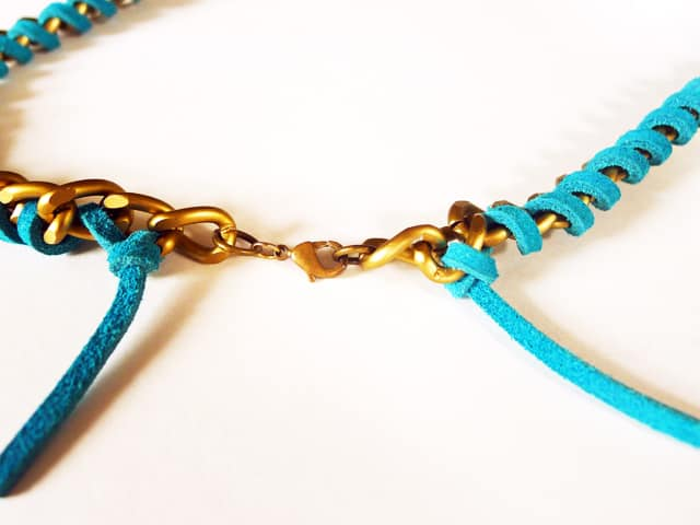 chain and suede necklace