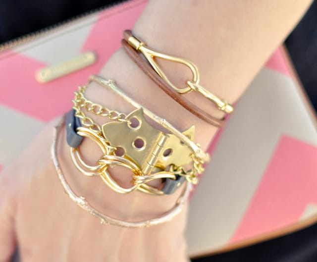DIY hinge bracelet with gold chains - Love, Maegan