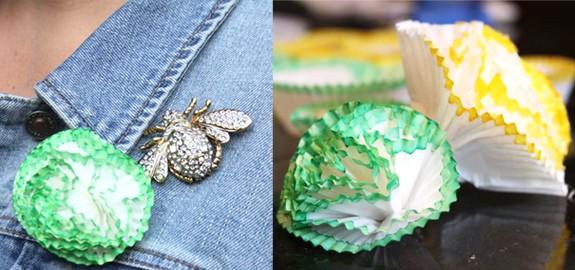 DIY cupcake liner brooch