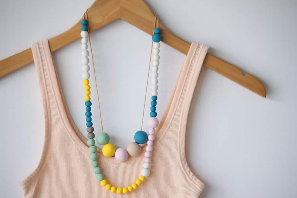 DIY polymer clay bead necklace - Delighted Momma