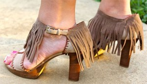 DIY fringe shoes