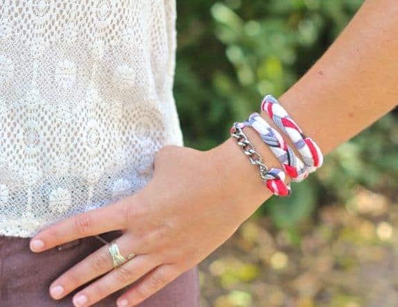 diy recycled shirt bracelet