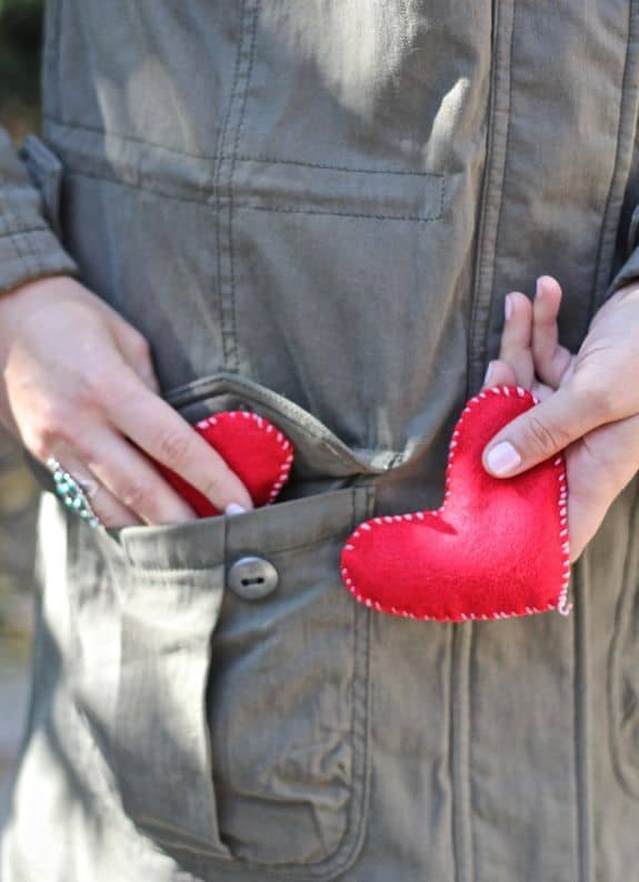 DIY felt hand warmers in a heart shape