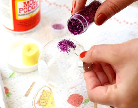 DIY Polka Dot Glitter Ornaments