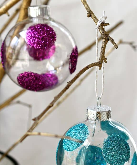 Polka Dot Glitter Ornaments