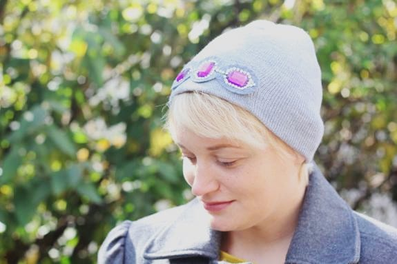 cf79f3034d6 DIY Embellished Beanie (2 Ways!) - Hello Glow