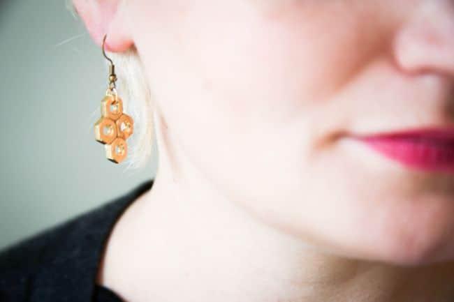 DIY Hex Nut Earrings