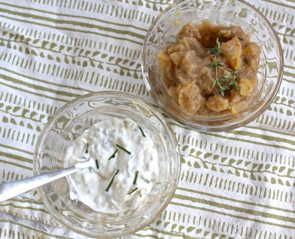 Thyme Applesauce and Horseradish Sour Cream
