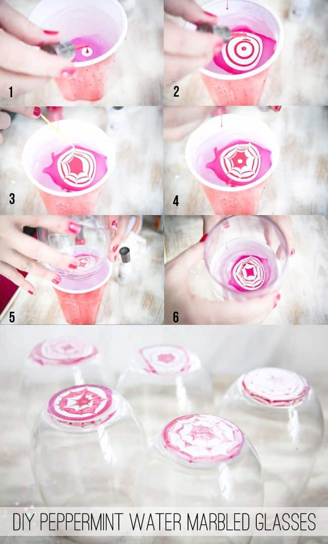 DIY Water Marbled Peppermint Glasses