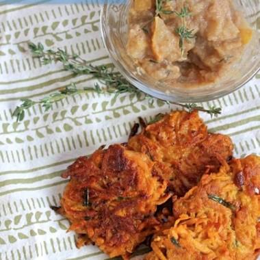 Sweet Potato Latkes + Spiced Thyme Applesauce
