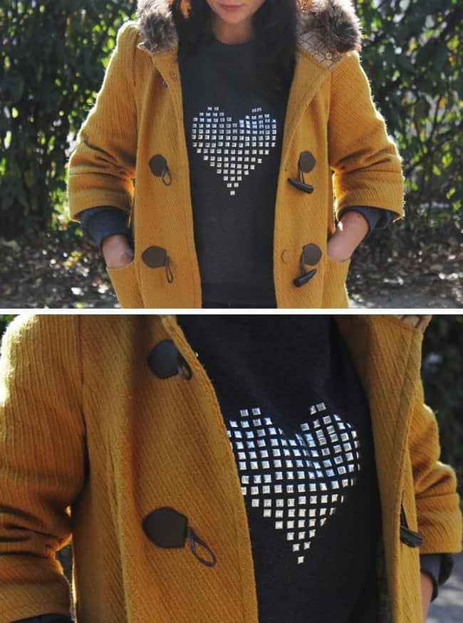 DIY Studded Heart Sweatshirt