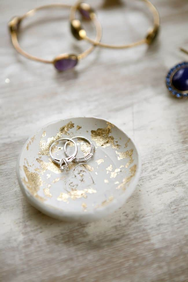DIY Gold Leaf Clay Ring Bowl