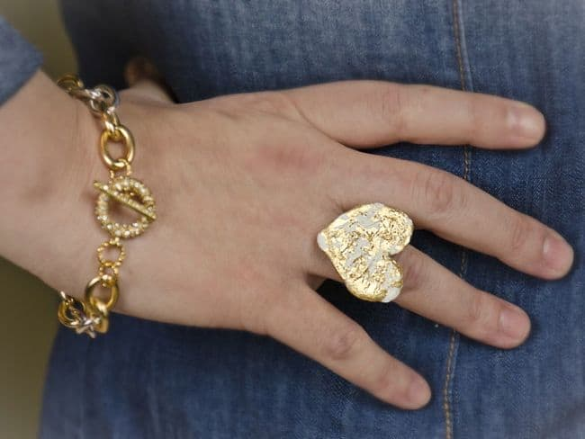 Gold Leaf Heart Ring