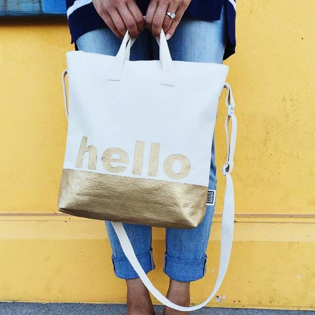 Gold Dipped Tote Bag from Hello Wonderful
