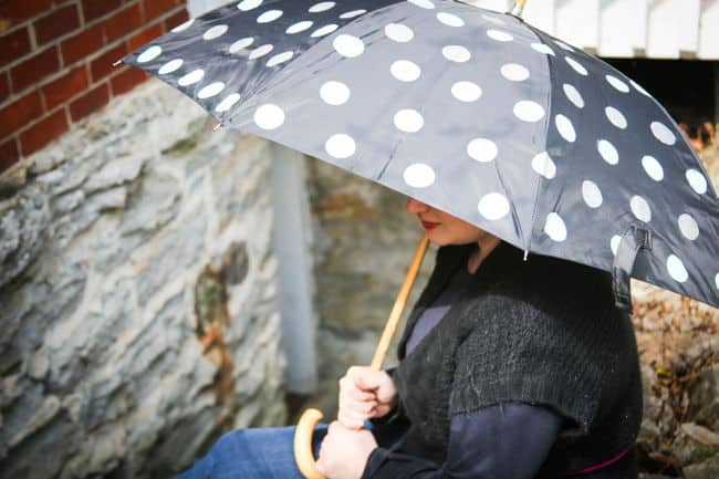 polka dot umbrella