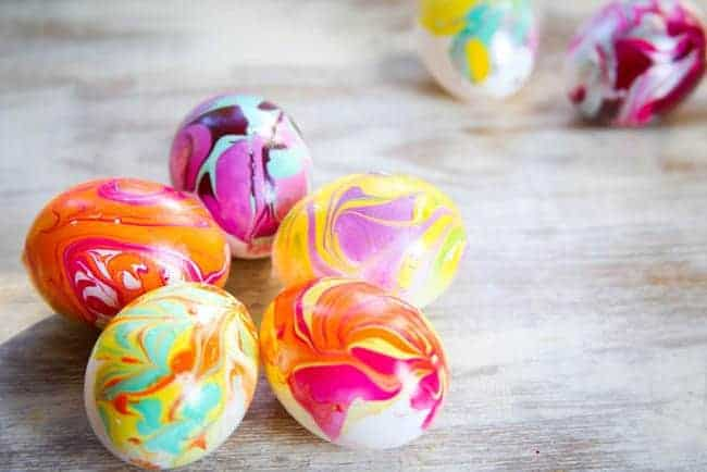 DIY Nail Polish Marbled Eggs - Hello Glow