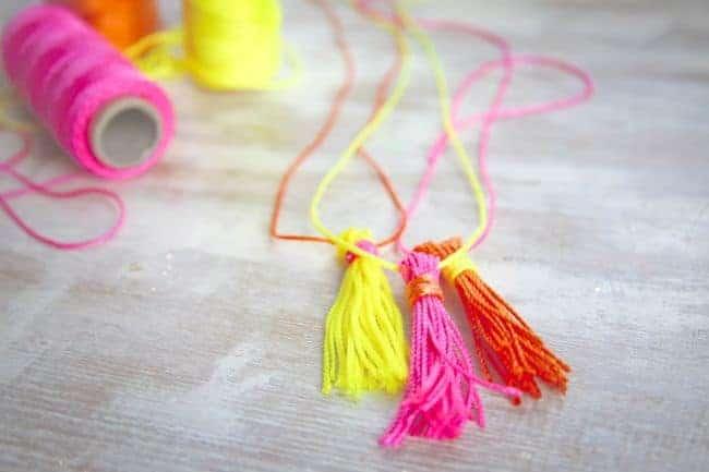 DIY Neon Rope Tassel Necklaces