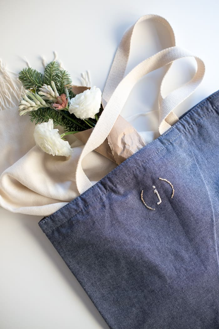 Embroidered Monogram Tote Bag DIY from Flax & Twine