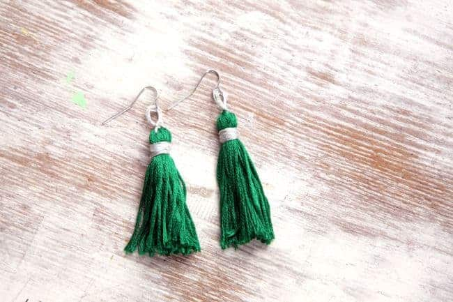 Emerald Tassel Earrings - HelloGlow.co