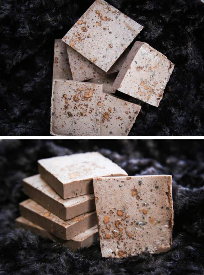 Homemade Soap Recipe with cocoa and mint