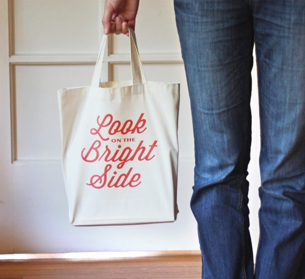 DIY Iron On Typographic Tote Bag from How About Orange
