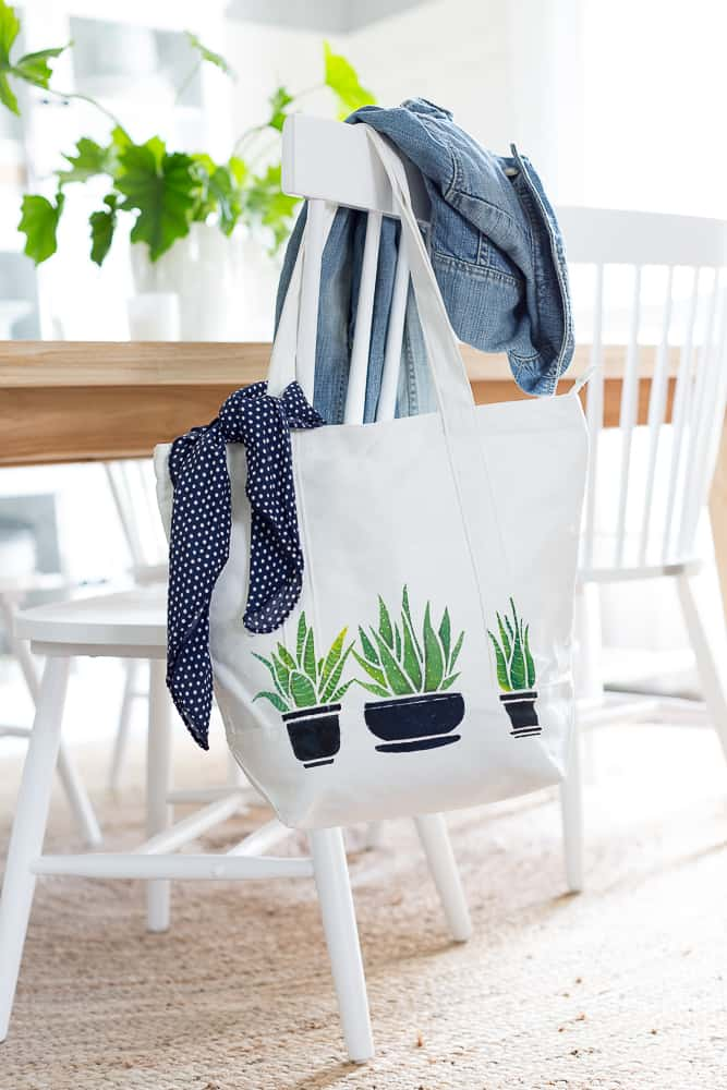 Succulent Painted Tote from Craftberry Bush