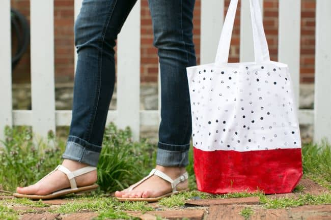 diy tote with polka dots