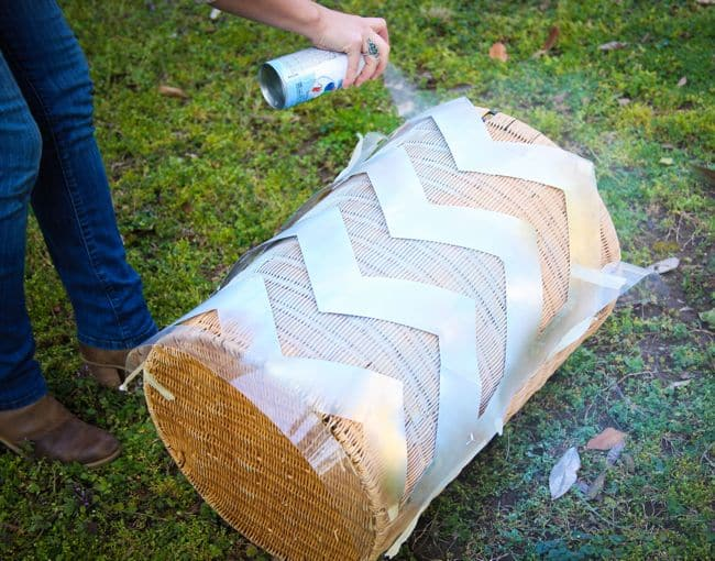 Chevron Basket with Stencil