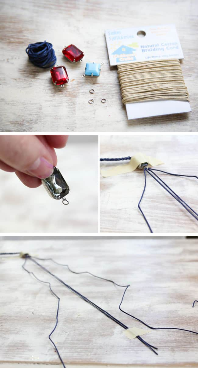 DIY Bracelet with square knot braid