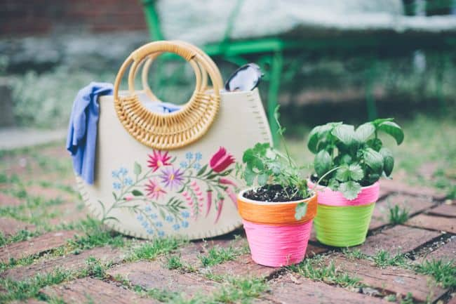 purse and neon flower pots