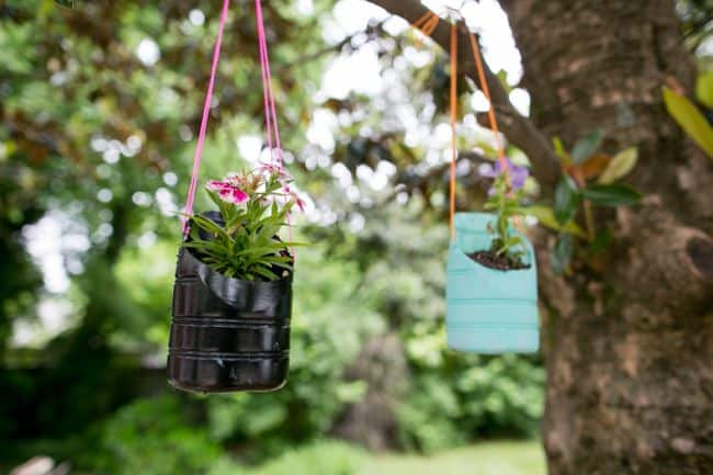 Recycled bottle hanging planters