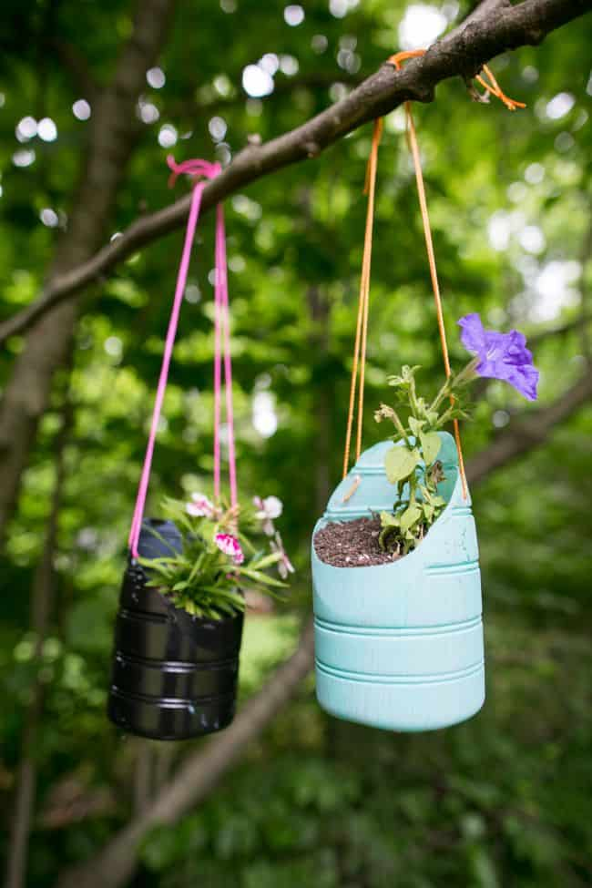 DIY Hanging Planters Made from Recycled Bottles
