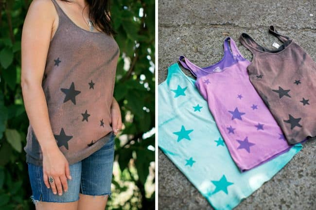 DIY Bleach Star Tank Tops | Hello Glow