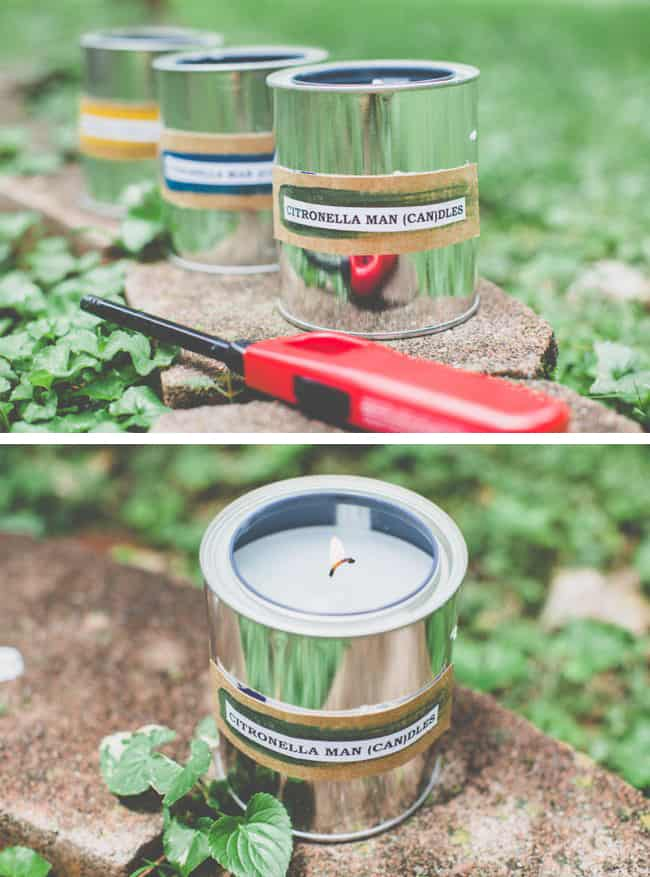 DIY Candles with Citronella in Paint Cans