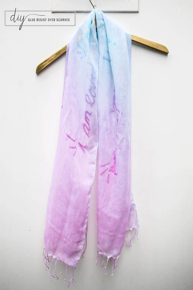 Glue resist dyed scarves - Hello Glow