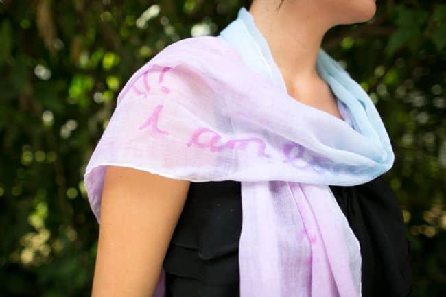 Glue resist dyed scarf