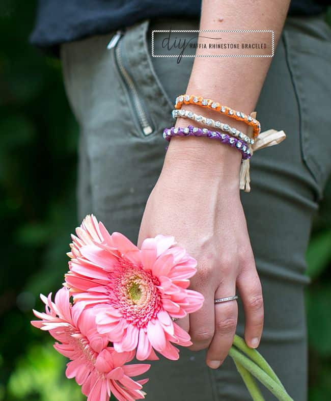 DIY Raffia Rhinestone Bracelet
