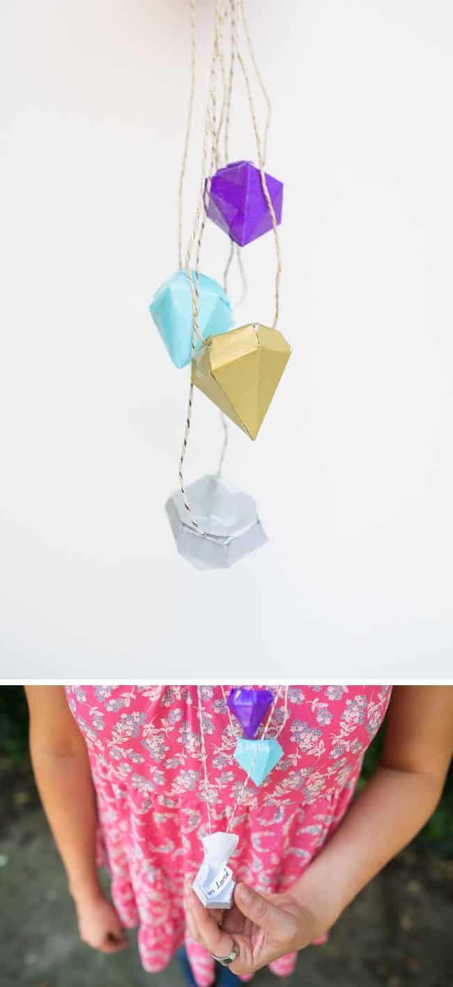 DIY Necklace with Diamond Pinatas | Hello Glow
